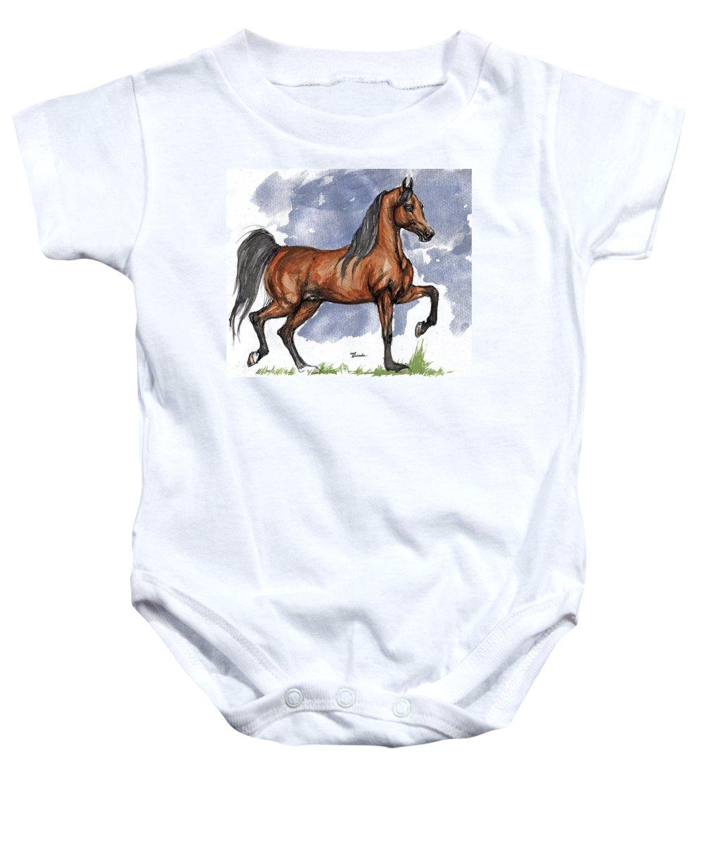 Bay Baby Onesie featuring the painting The Bay Arabian Horse 17 by Angel Ciesniarska