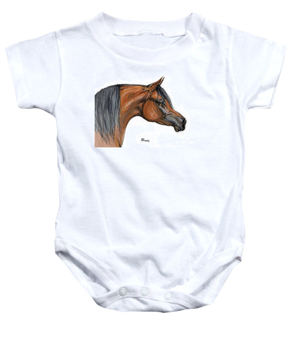 Arabian Baby Onesie featuring the painting The Bay Arabian Horse 18 by Angel Ciesniarska