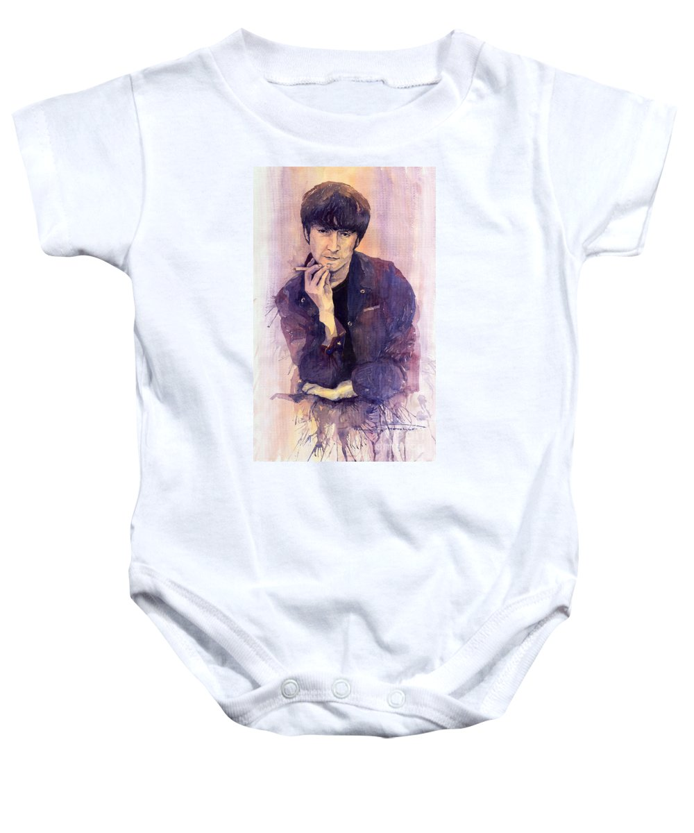 Watercolour Baby Onesie featuring the painting The Beatles John Lennon by Yuriy Shevchuk