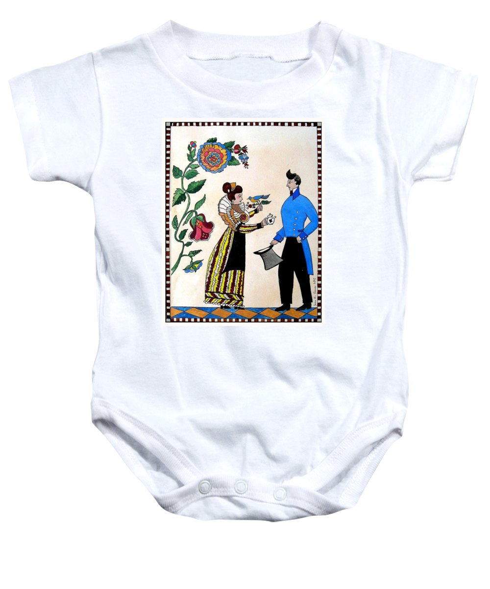 Fraktur Art Baby Onesie featuring the painting The Betrothal-folk Art by Joan Shaver