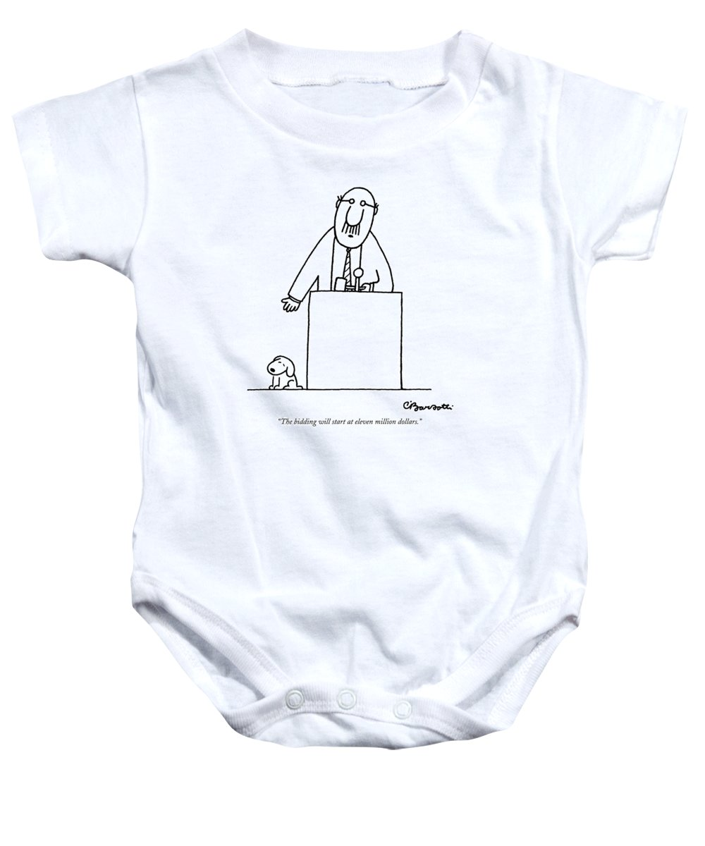 Auctioneer Baby Onesie featuring the drawing The Bidding Will Start At Eleven Million Dollars by Charles Barsotti