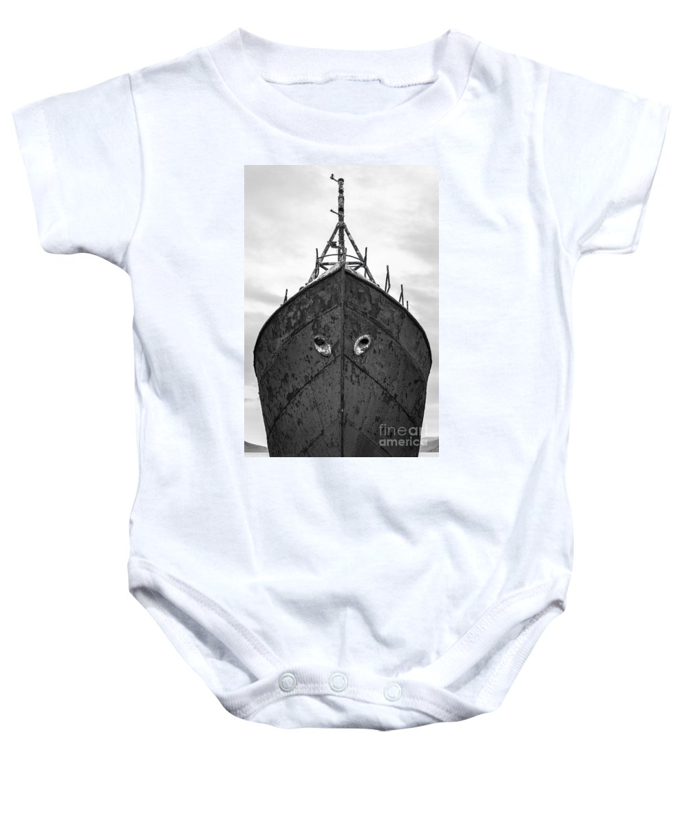 Black And White Baby Onesie featuring the photograph The Boat by Gunnar Orn Arnason