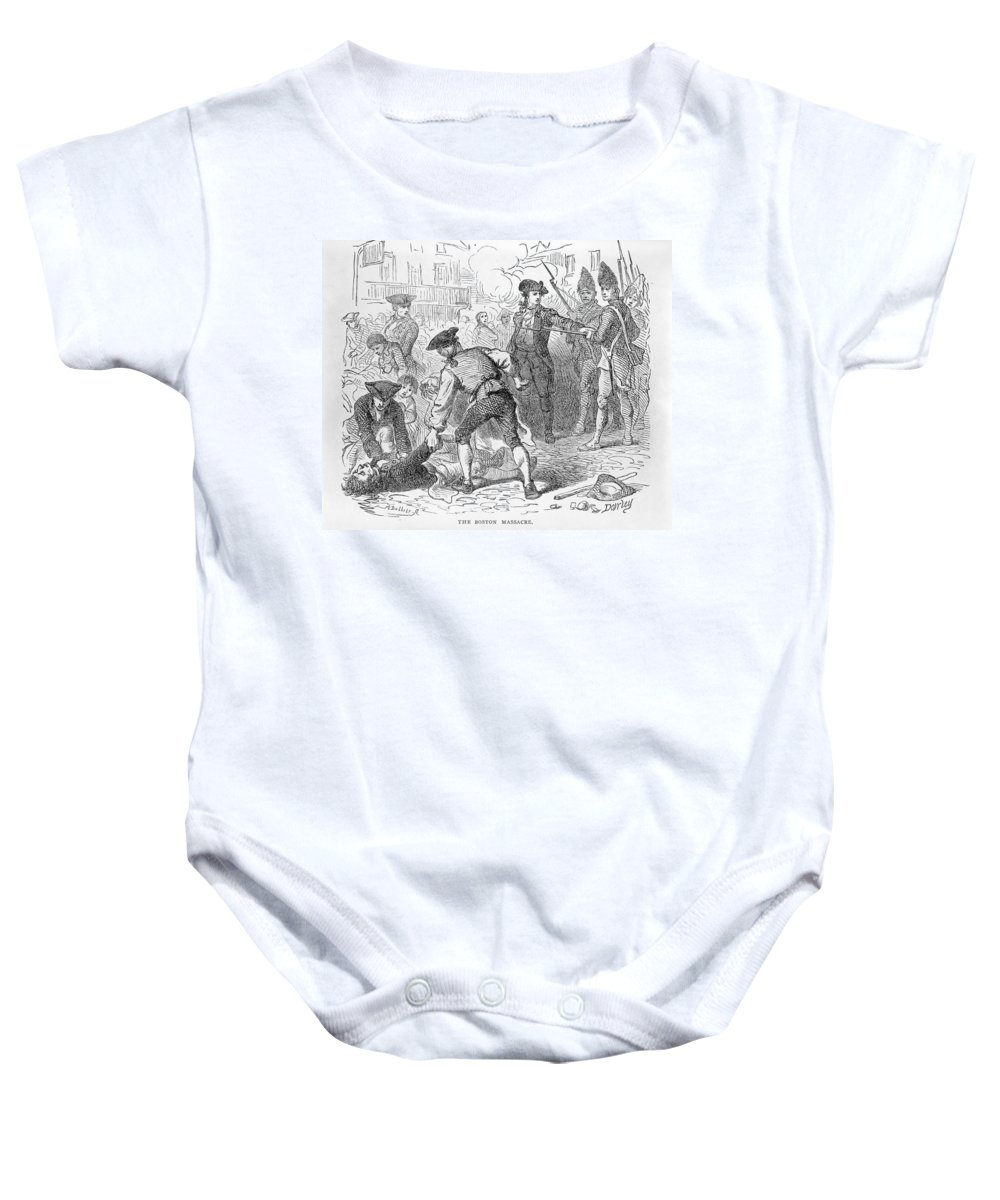 Crowd Baby Onesie featuring the photograph The Boston Massacre, March 5th 1770, Engraved By A. Bollett Engraving B&w Photo by Felix Octavius Carr Darley