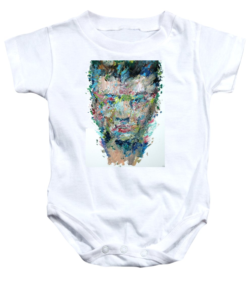 Boxer Baby Onesie featuring the painting The Boxer by Fabrizio Cassetta