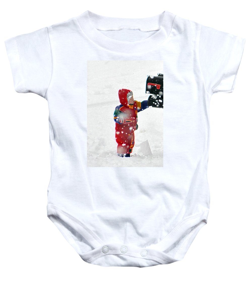 The Boy And The Box Baby Onesie featuring the photograph The Boy And The Box 2 by Lydia Holly