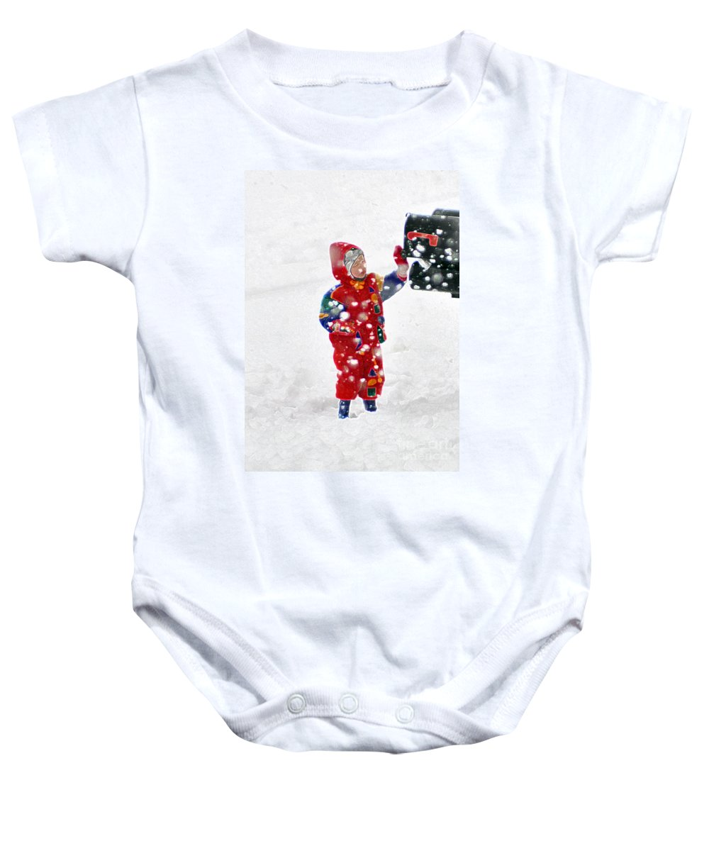 The Boy And The Box Baby Onesie featuring the photograph The Boy And The Box 3 by Lydia Holly