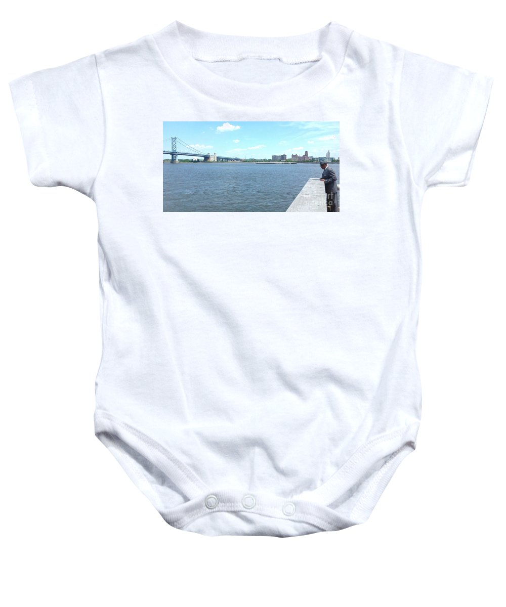 Benjamin Franklin Bridge Baby Onesie featuring the photograph The Bridge And The River by Christopher Plummer