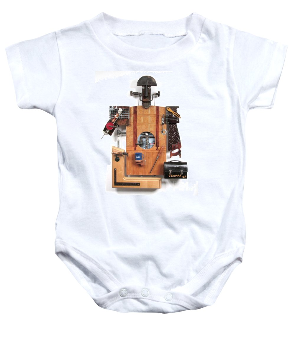 Czappa Baby Onesie featuring the sculpture The Carpenter  #16 by Bill Czappa
