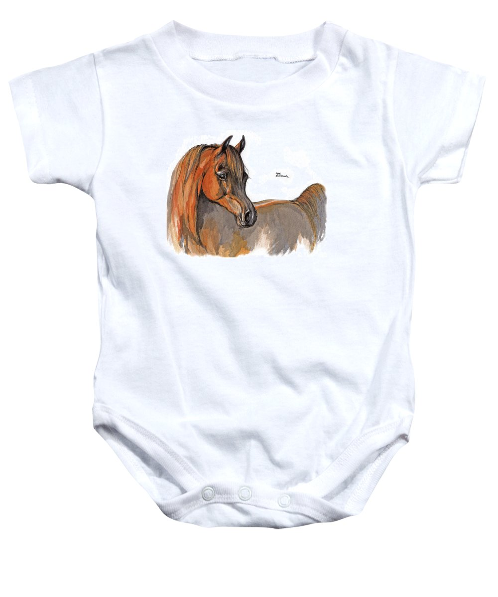 Chestnut Horse Baby Onesie featuring the painting The Chestnut Arabian Horse 2a by Angel Ciesniarska