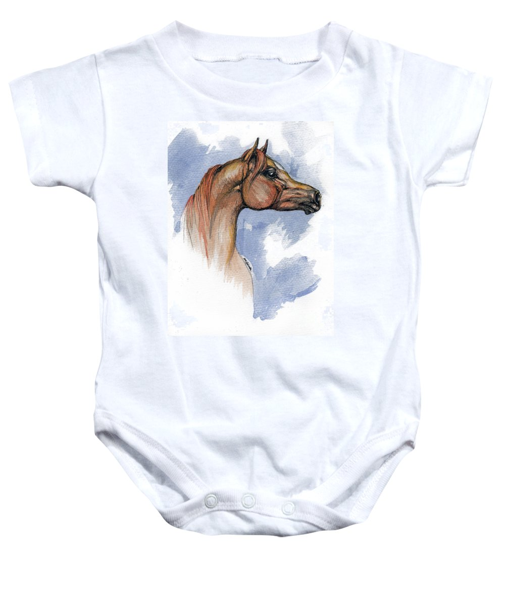Arabian Baby Onesie featuring the painting The Chestnut Arabian Horse 4 by Angel Tarantella