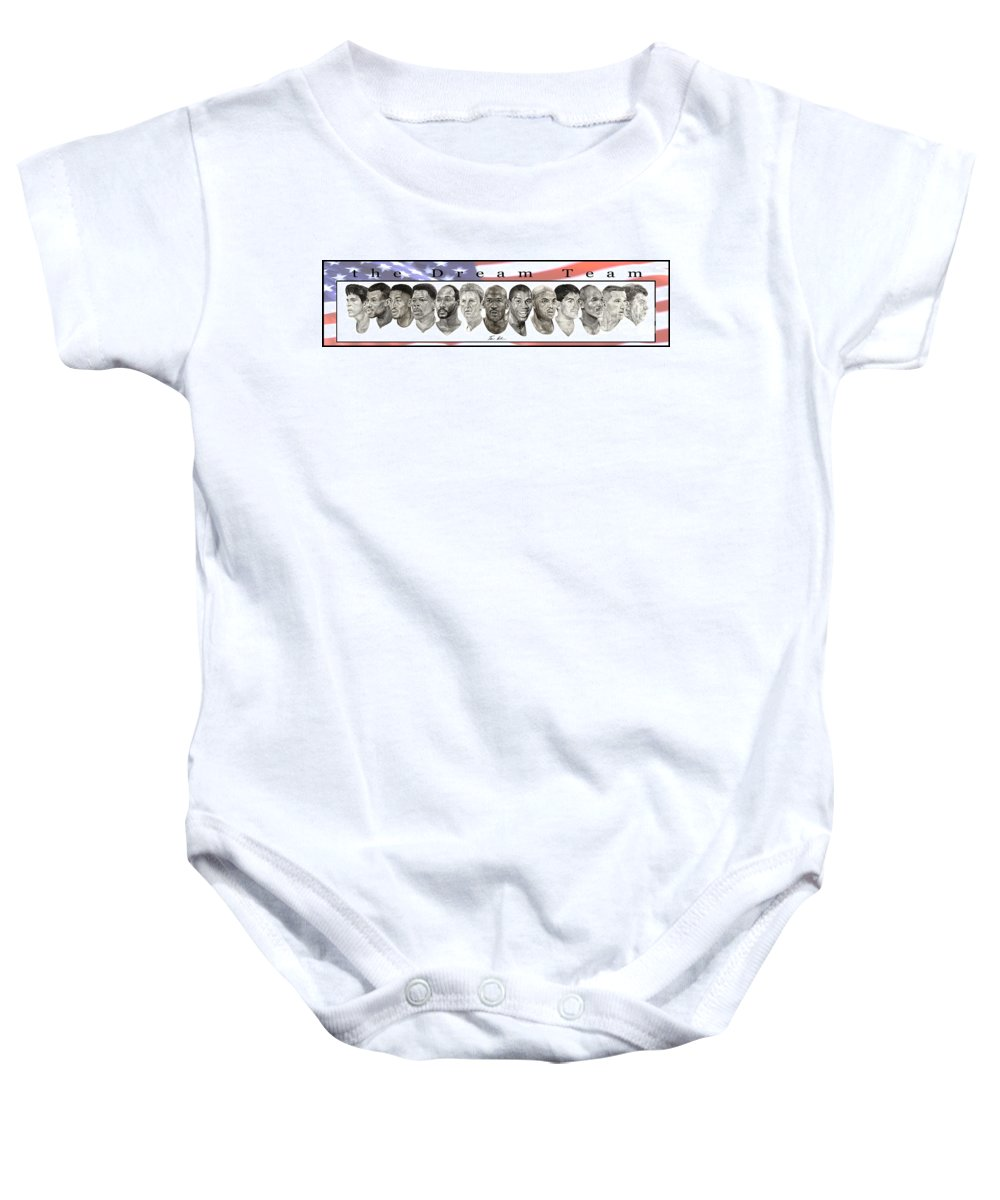 The Dream Team Baby Onesie featuring the painting the Dream Team by Tamir Barkan