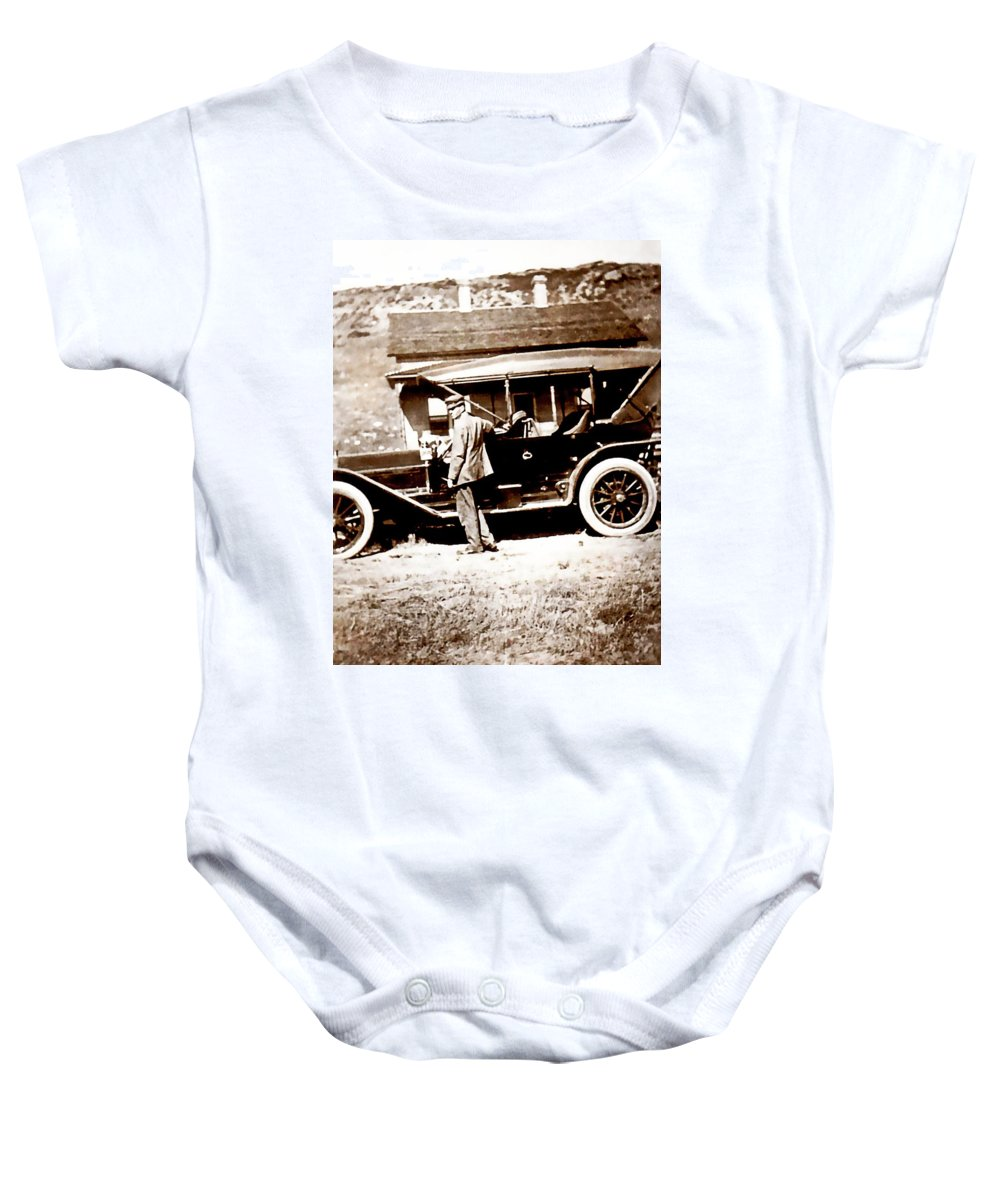 Vintage Baby Onesie featuring the photograph The Driver by Image Takers Photography LLC