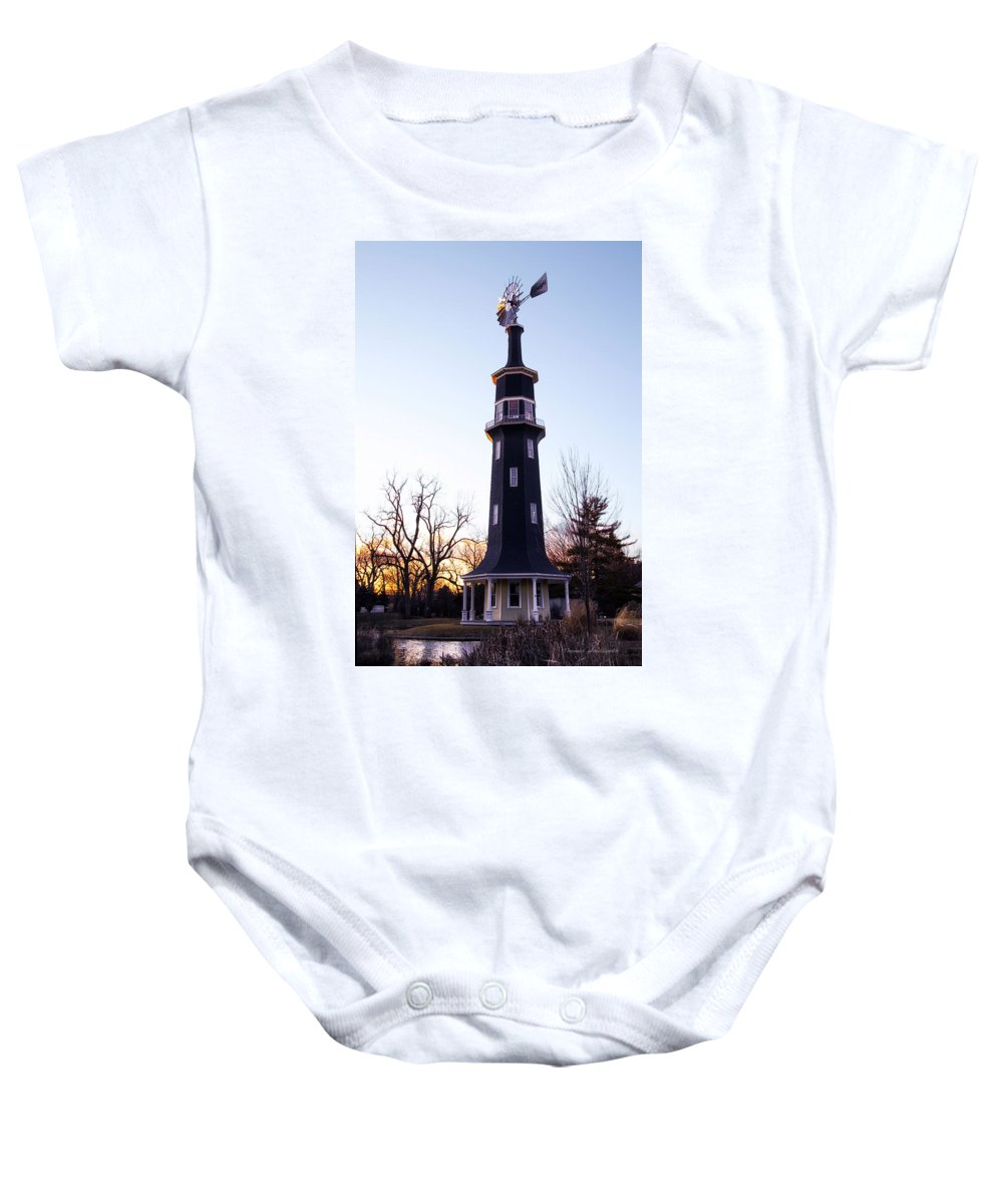 Windmill Baby Onesie featuring the photograph The Dwight Windmill by Thomas Woolworth