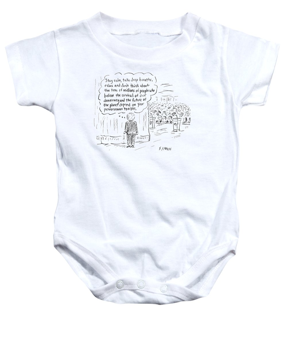 Stay Calm Baby Onesie featuring the drawing The Future Of The Planet Depend by David Sipress