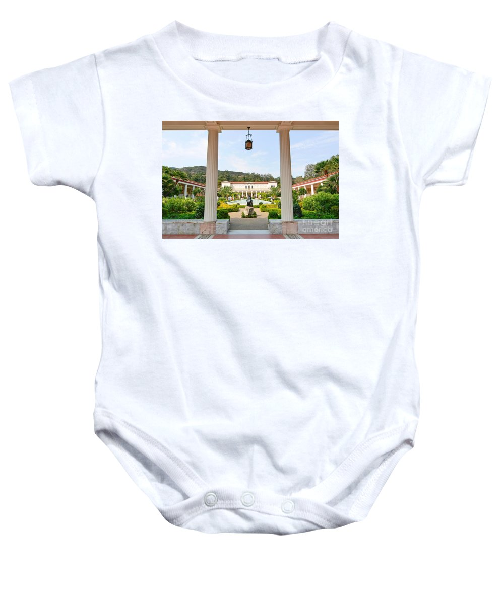 Getty Villa Baby Onesie featuring the photograph The Getty Villa Main Courtyard View From Covered Walkway. by Jamie Pham