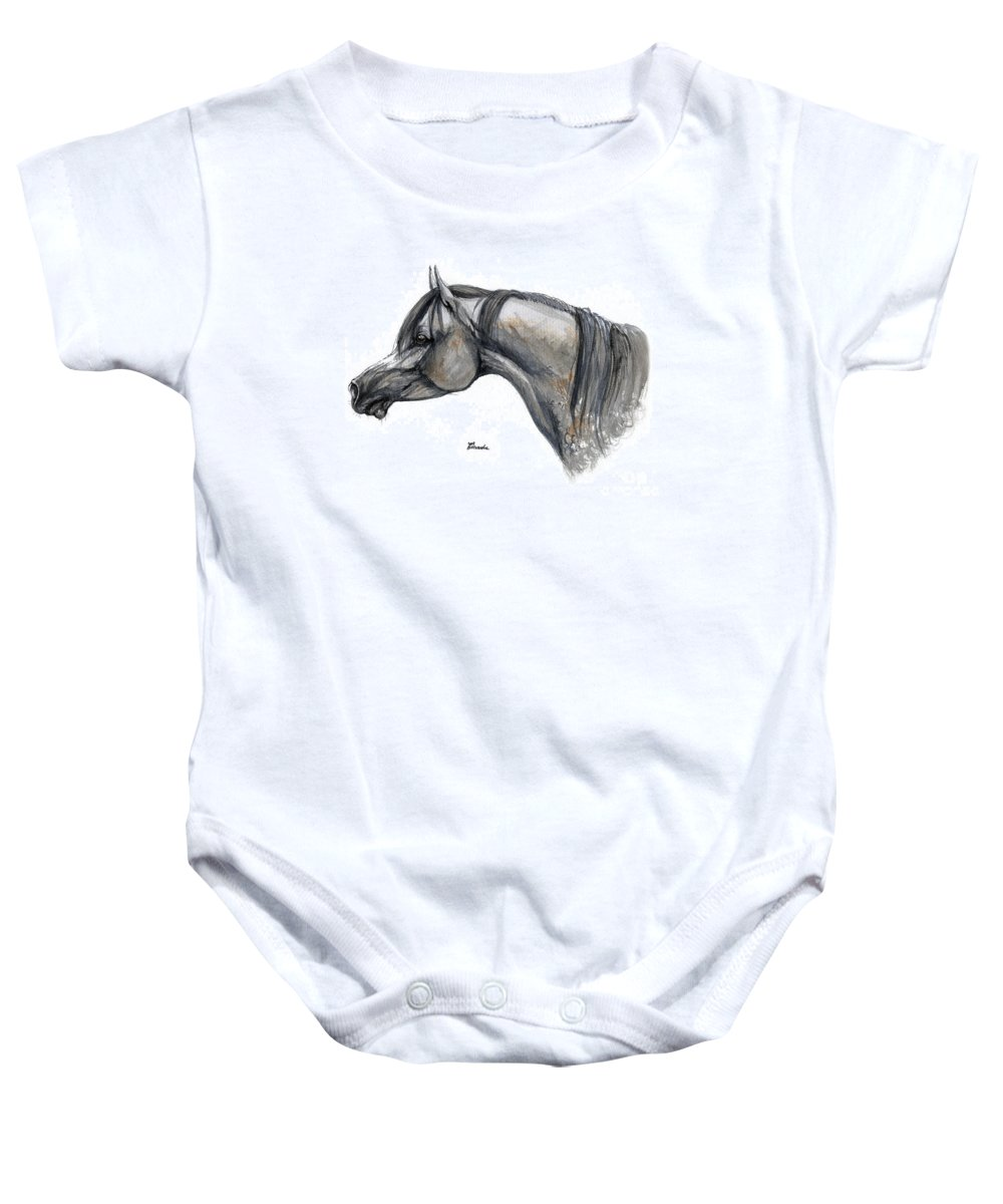 Horse Baby Onesie featuring the painting The Grey Arabian Horse 11 by Angel Tarantella