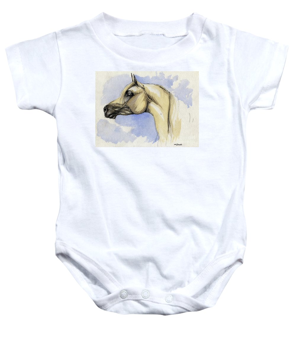 Arabian Baby Onesie featuring the painting The Grey Arabian Horse 12 by Angel Ciesniarska