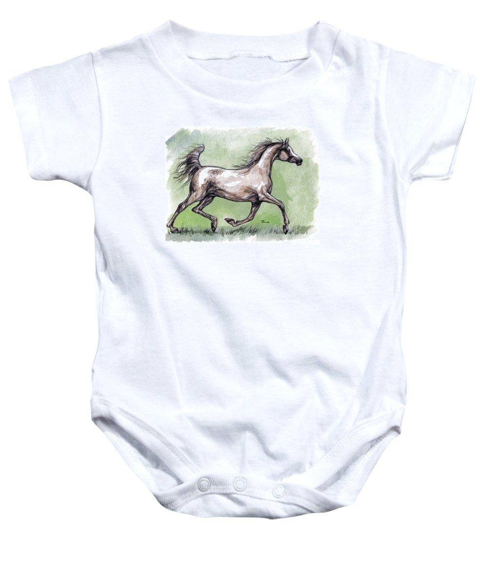 Horse Baby Onesie featuring the painting The Grey Arabian Horse 8 by Angel Ciesniarska