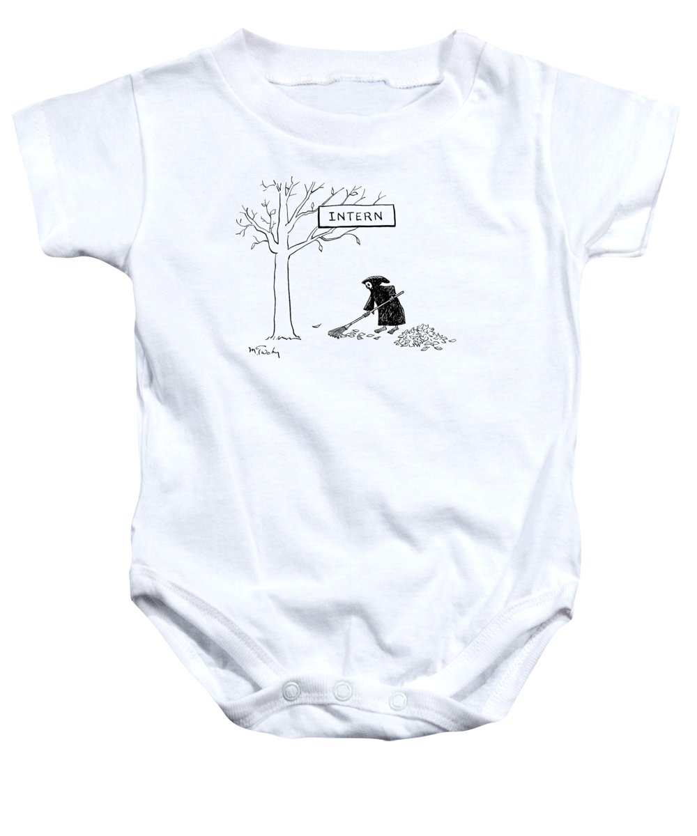 The Grim Reaper Rakes Up A Pile Of Leaves Onesie For Sale By Mike Twohy