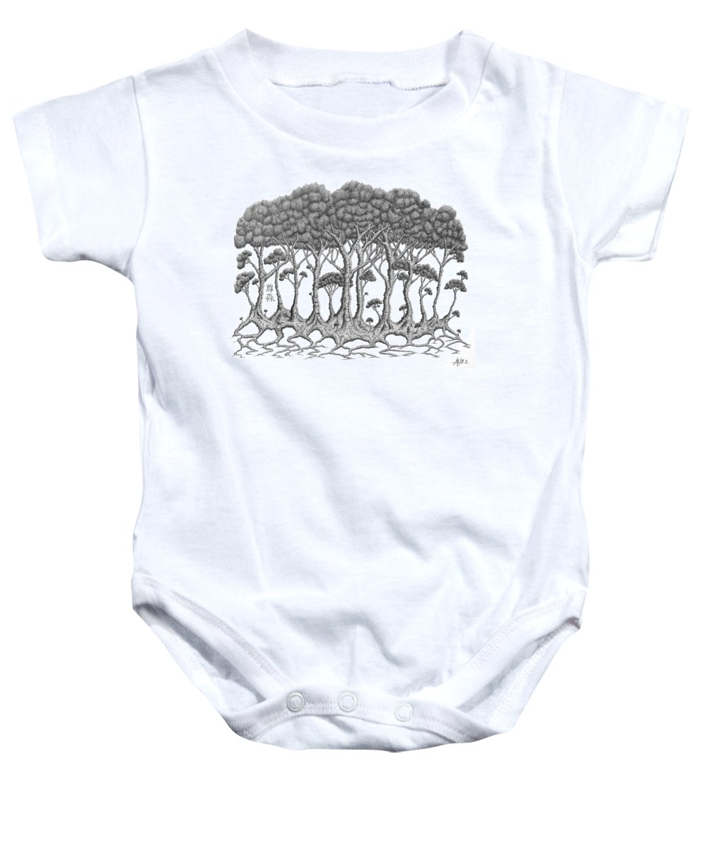 Tree Baby Onesie featuring the drawing The Grove by Robert Fenwick May Jr
