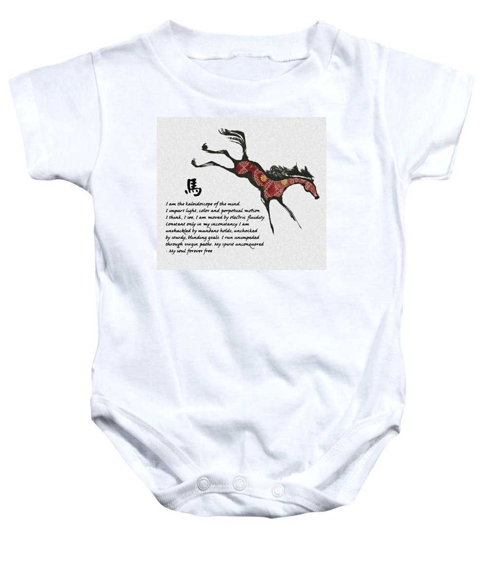 Horses Baby Onesie featuring the drawing The Horse by Ellsbeth Page