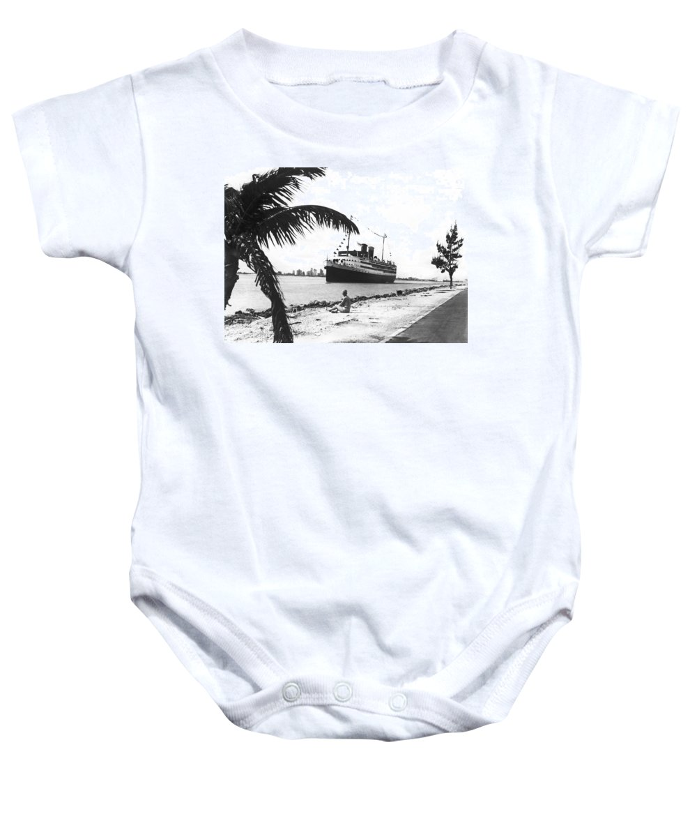 1927 Baby Onesie featuring the photograph The Iroquois In Biscayne Bay by Underwood & Underwood
