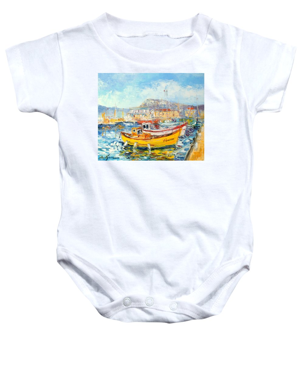 Kalk Bay Baby Onesie featuring the painting The Kalk Bay Harbour by Luke Karcz