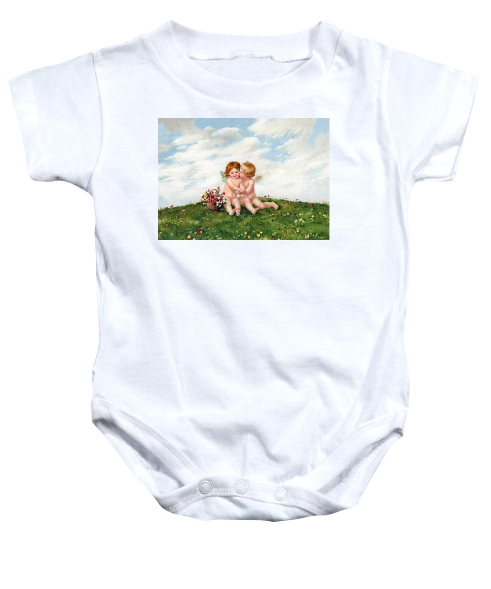 Vintage Baby Onesie featuring the photograph The Kiss by Munir Alawi