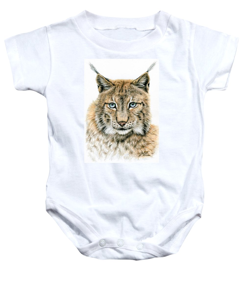 Lynx Baby Onesie featuring the drawing The Lynx by Nicole Zeug