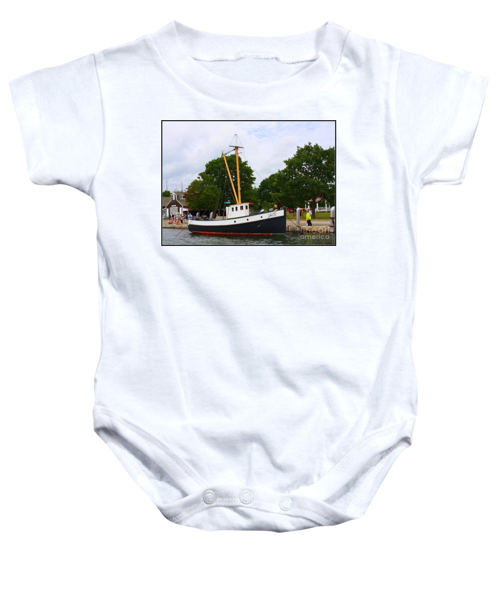 Mystic Baby Onesie featuring the photograph The Old Tugboat At Mystic by Dora Sofia Caputo Photographic Design and Fine Art