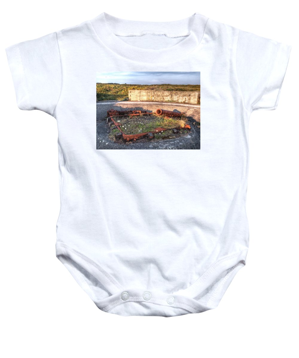 Cannon Baby Onesie featuring the photograph The Ruins Of A Ww2 Cannon And Bunkers by Gill Billington