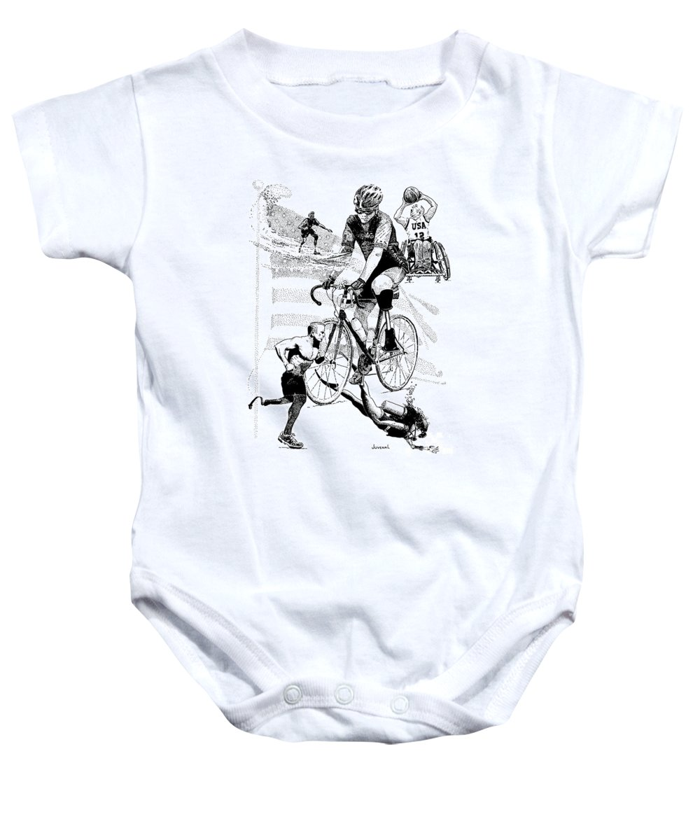 T-shirt Baby Onesie featuring the drawing The Spirit Of Freedom by Joseph Juvenal