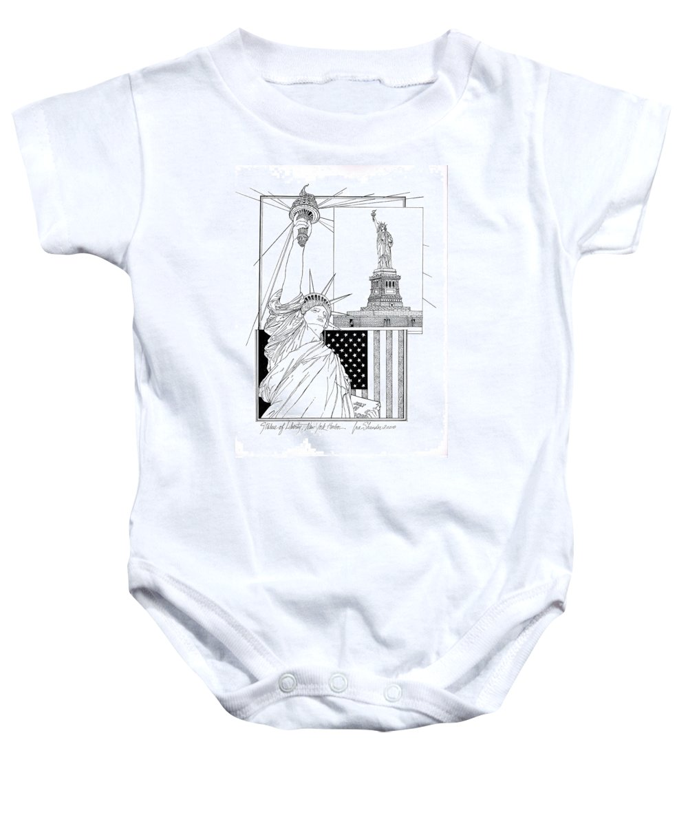 Statue Of Liberty Baby Onesie featuring the drawing The Statue Of Liberty by Ira Shander
