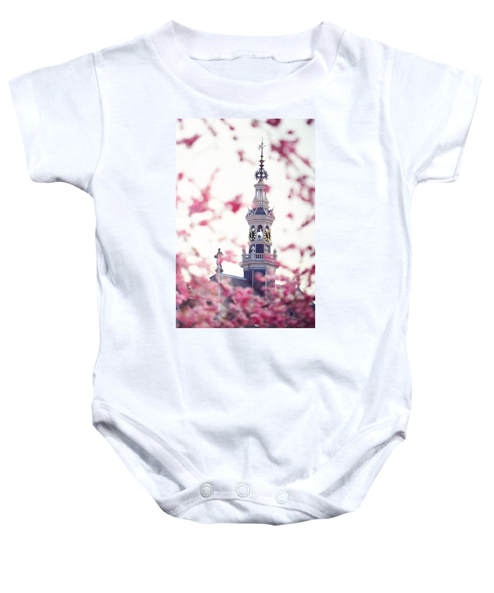 Spring Baby Onesie featuring the photograph The Temple Bell Dies Away 1. Pink Spring In Amsterdam by Jenny Rainbow