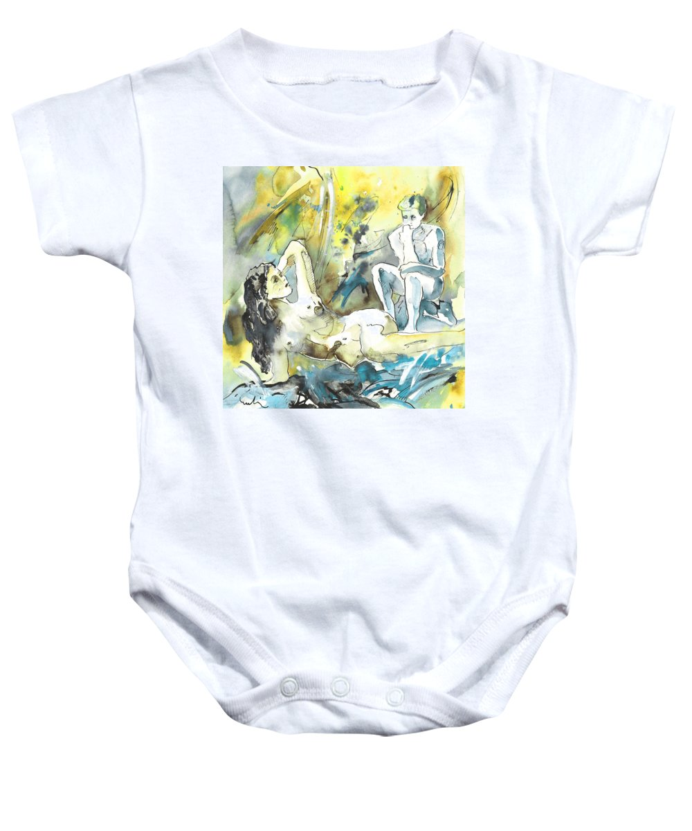 Watercolour Baby Onesie featuring the painting The Thinkers by Miki De Goodaboom