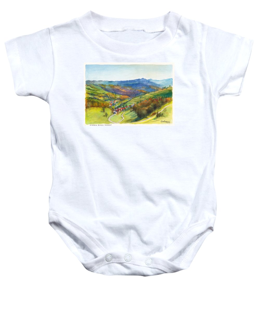 Germany Baby Onesie featuring the painting The Village Of Wieden In The Black Forest by Dai Wynn