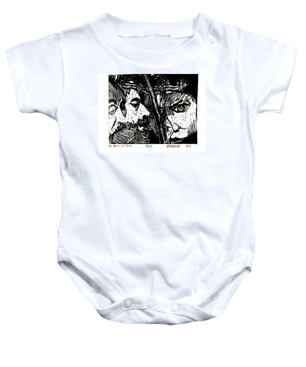 Spectators At The Crucifiction Of Jesus Christ Baby Onesie featuring the relief The Watchers Of Death by Seth Weaver