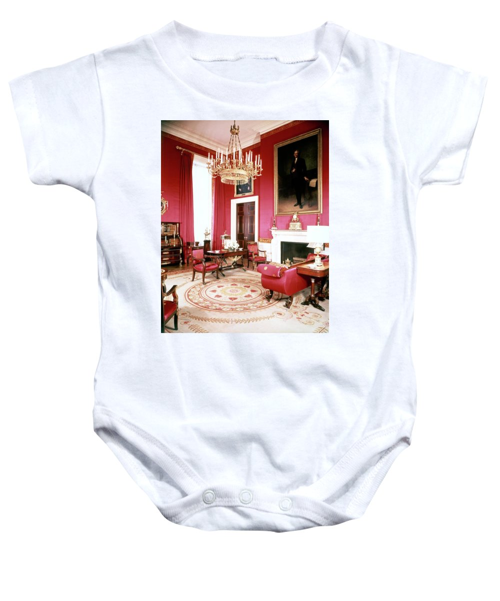Home Baby Onesie featuring the photograph The White House Red Room by Tom Leonard
