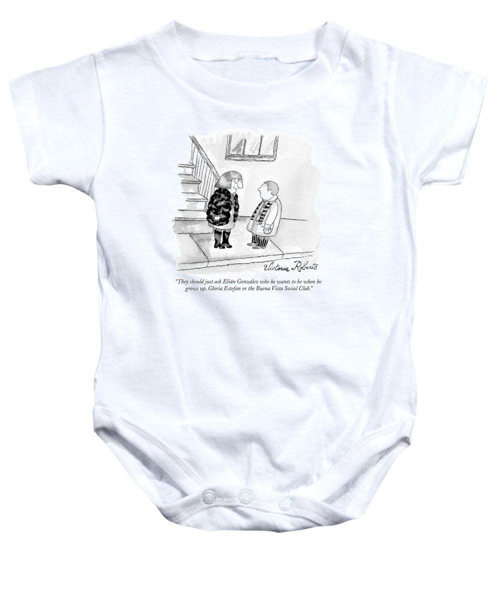 Gonzalez Baby Onesie featuring the drawing They Should Just Ask Elian Gonzalez Who He Wants by Victoria Roberts