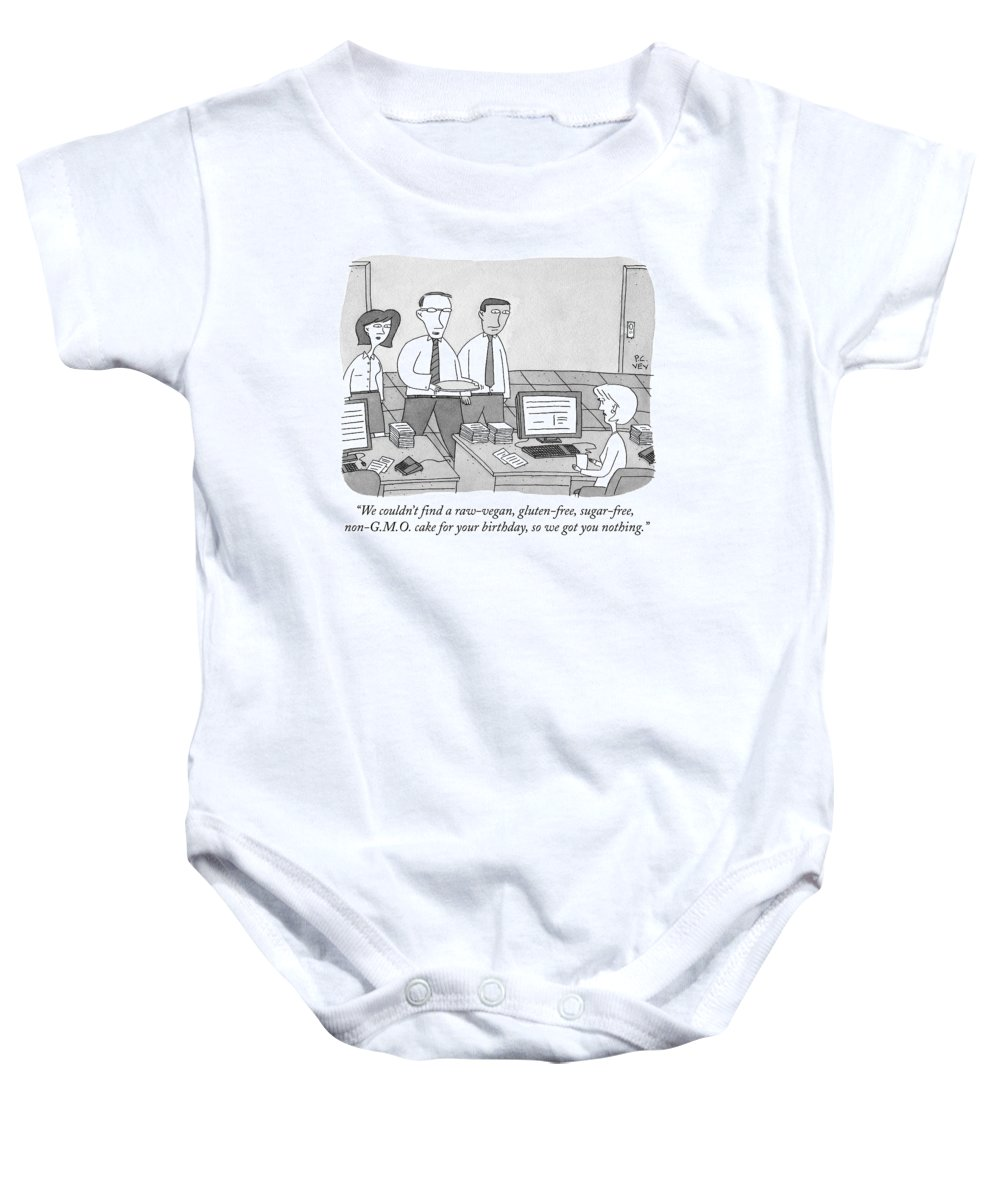 Gluten Baby Onesie featuring the drawing Three Office Workers by Peter C. Vey