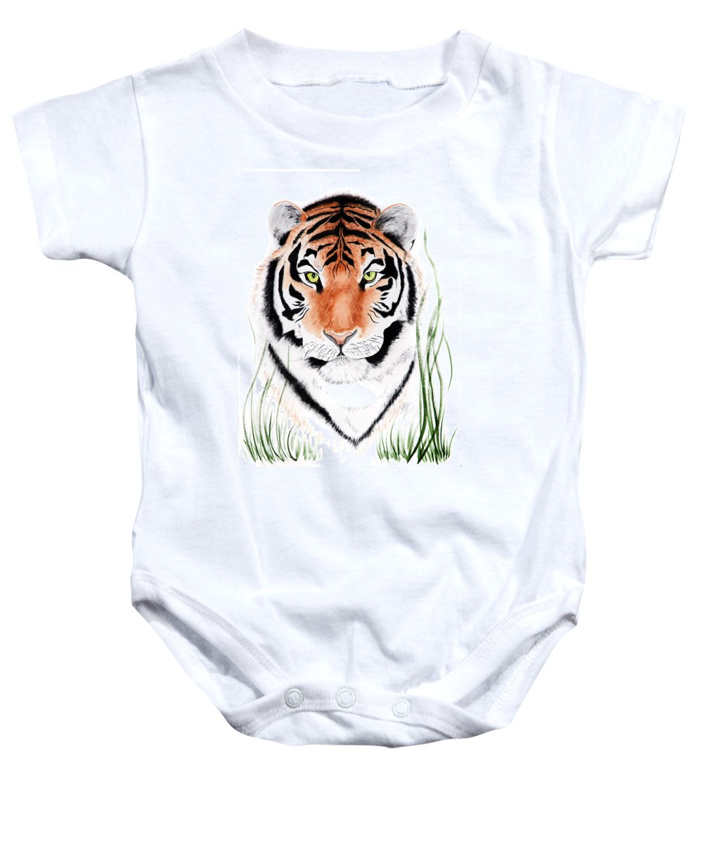 Tiger Baby Onesie featuring the painting Tiger Tiger Where by Joette Snyder