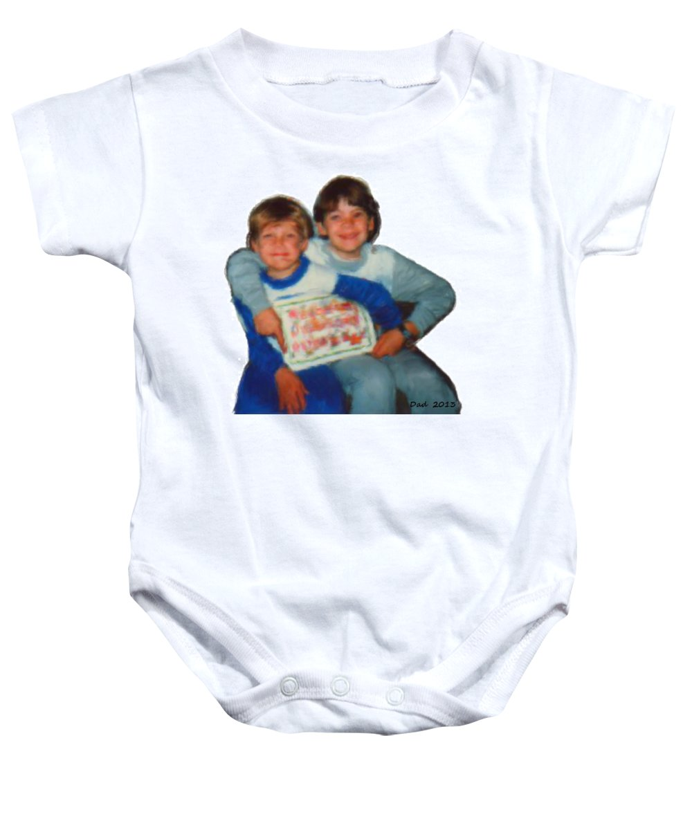 Nutting Baby Onesie featuring the painting Tim And Dan Nutting by Bruce Nutting
