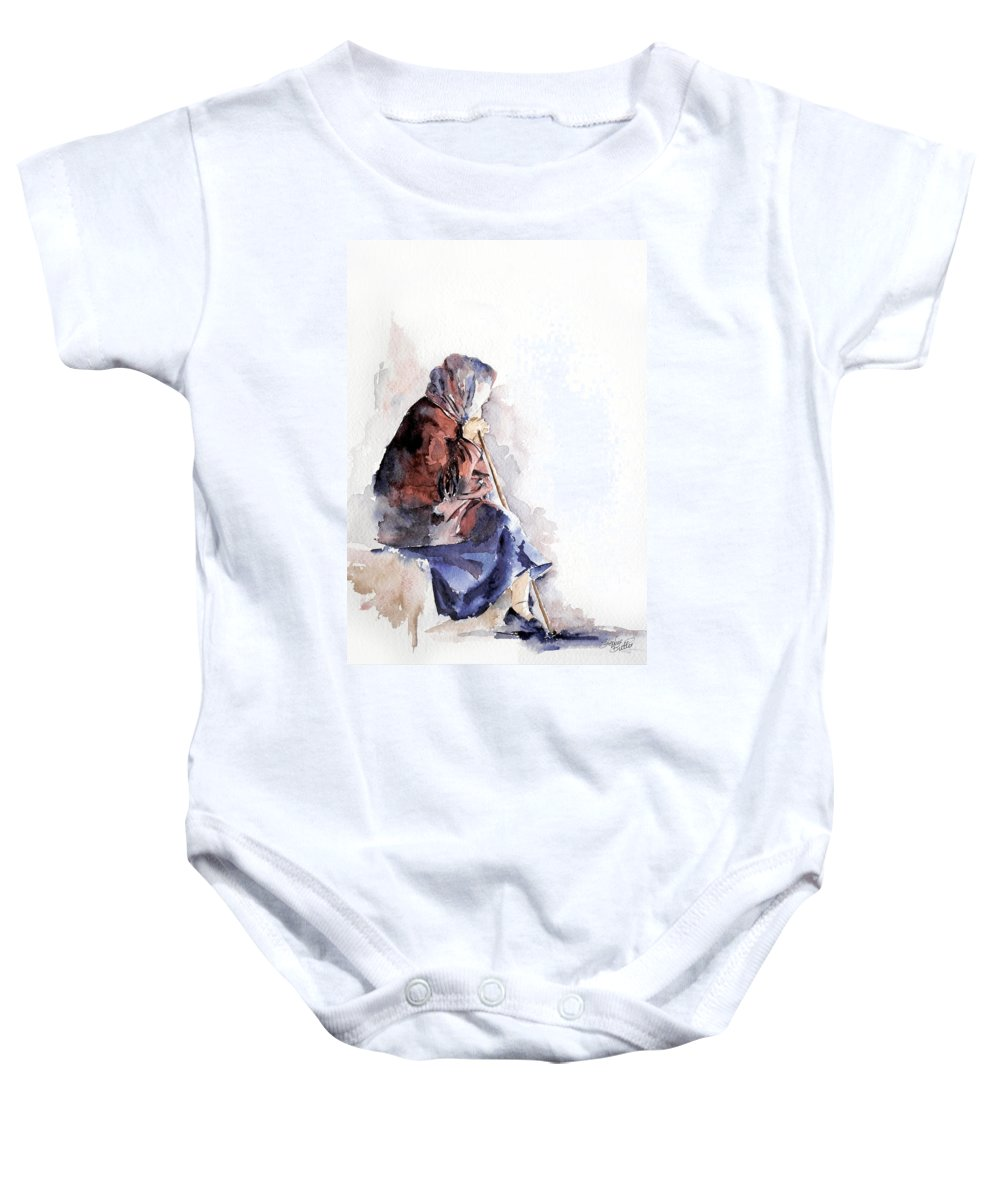 Stephie Butler Baby Onesie featuring the painting Time To Reflect by Stephie Butler
