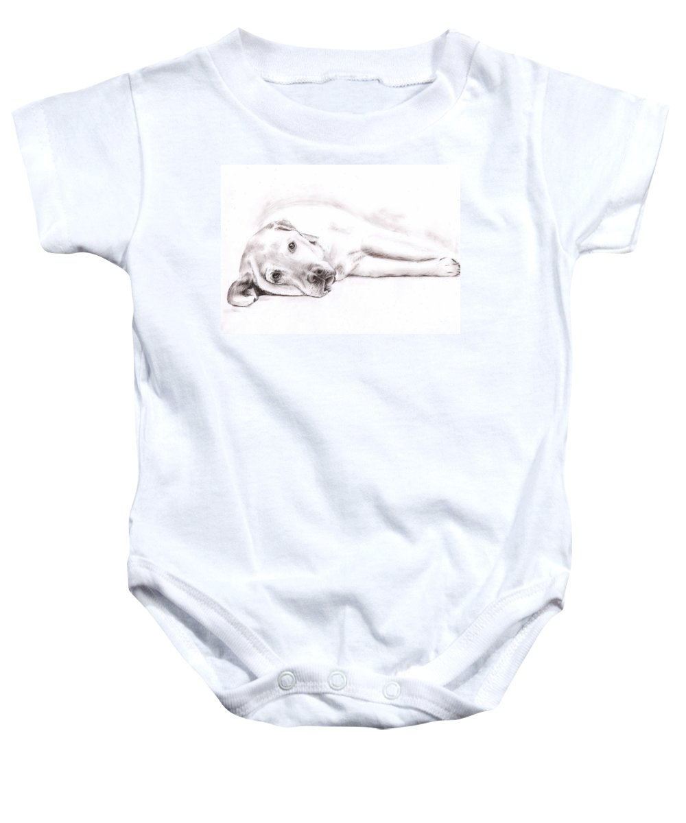 Dog Baby Onesie featuring the drawing Tired Labrador by Nicole Zeug