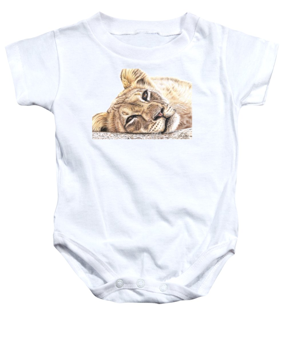Lion Baby Onesie featuring the drawing Tired Young Lion by Nicole Zeug