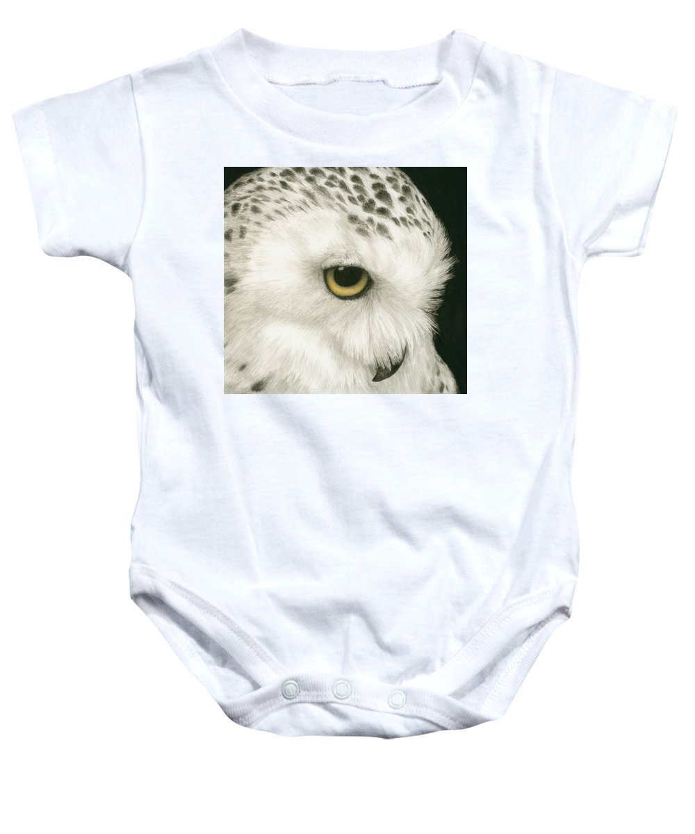Owl Baby Onesie featuring the painting Topaz In The Snow by Pat Erickson