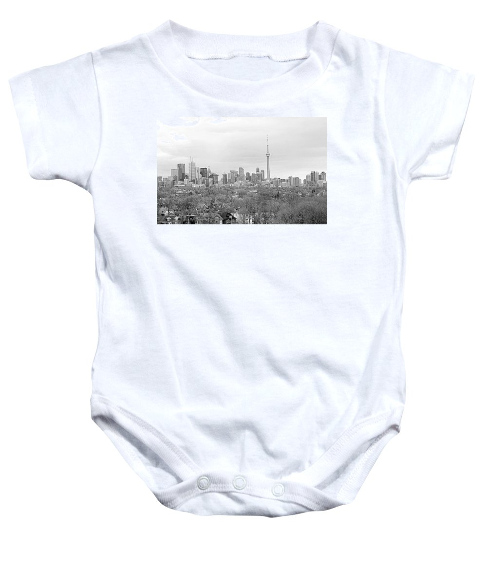 Apartment Baby Onesie featuring the photograph Toronto In Black And White by Valentino Visentini