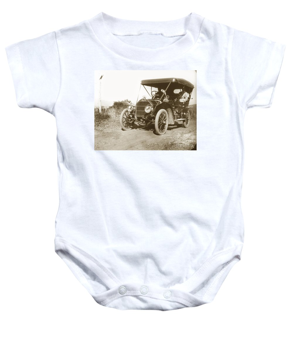 Touring Baby Onesie featuring the photograph Touring Car On The Road California 1906 by California Views Archives Mr Pat Hathaway Archives