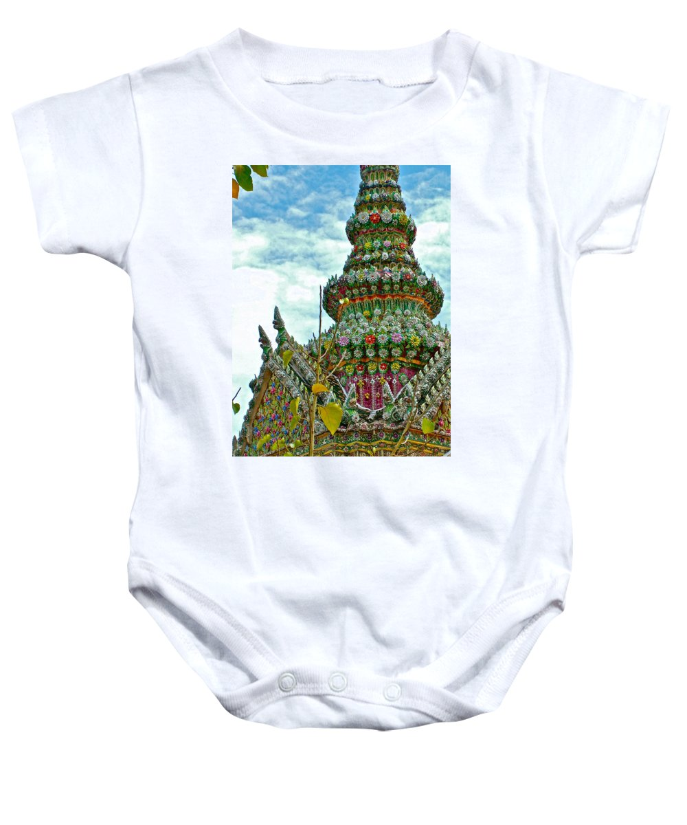 Tower Closeup Of Buddhist Temple At Grand Palace Of Thailand In Bangkok Baby Onesie featuring the photograph Tower Closeup Of Buddhist Temple At Grand Palace Of Thailand by Ruth Hager
