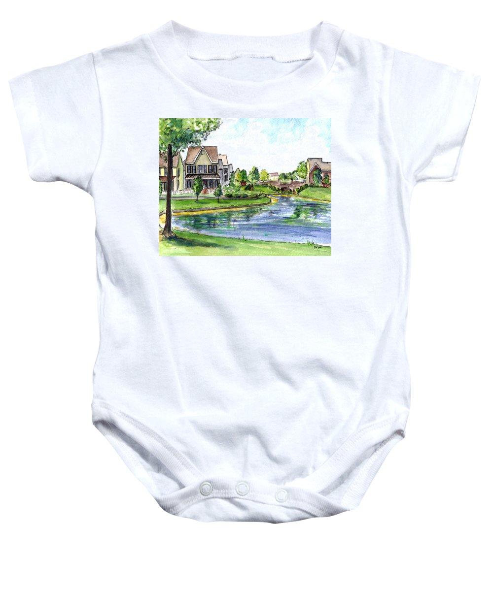 Robbinsville Towne Baby Onesie featuring the painting Towne Center by Clara Sue Beym